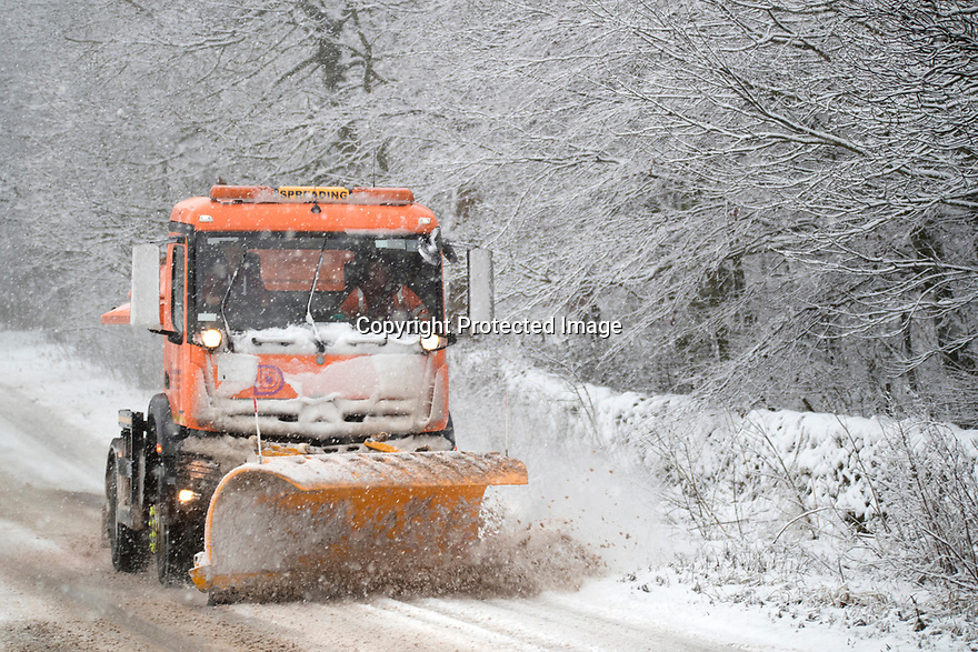 29/12/17<br /> <br /> A gritter treats the A515 near Buxton, Derbyshire.<br /> <br /> All Rights Reserved F Stop Press Ltd. +44 (0)1335 344240 +44 (0)7765 242650  www.fstoppress.com
