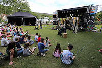 Pictured: A performance by puppet soup Saturday 13 August 2016<br />Re: Grow Wild event at  Furnace to Flowers site in Ebbw Vale, Wales, UK