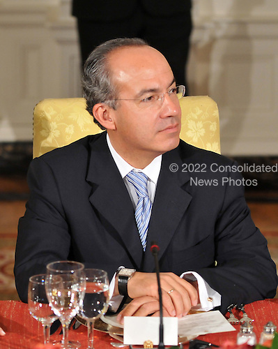 Washington, D.C. - November 14, 2008 -- President Felipe Calderon Hinojosa of Mexico listens as United States President George W. Bush makes remarks to the Summit on Financial Markets and the World Economy on the North Portico of the White House in Washington, D.C. on Friday, November 14, 2008..Credit: Ron Sachs / Pool via CNP
