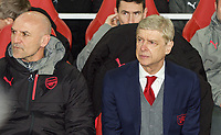 Arsenal Manager Arsene Wenger & Arsenal Assistant Manager Steve Bould during the UEFA Europa League QF 1st leg match between Arsenal and CSKA Moscow  at the Emirates Stadium, London, England on 5 April 2018. Photo by Andrew Aleksiejczuk / PRiME Media Images.