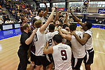27 APR 2014: Teammates from Springfield College celebrate after defeating Juniata College 3-0 to capture the Division III Men's Volleyball Championships national title held at the Kennedy Sports Center in Huntingdon, PA.  Mark Selders/NCAA Photos