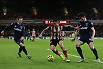 Muhamed Besic of Sheffield Utd, Aaron Cresswell of West Ham United and Declan Rice of West Ham United in action during the Premier League match at Bramall Lane, Sheffield. Picture date: 10th January 2020. Picture credit should read: Chloe Hudson/Sportimage