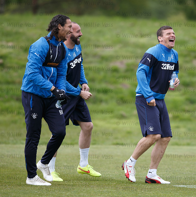 Bilel Mohsni, Kris Boyd and Lee McCulloch having a laugh