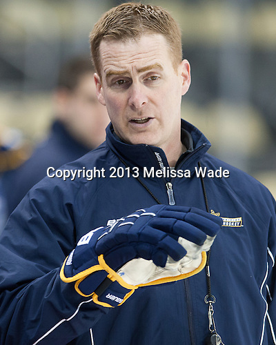 Rand Pecknold (QU - Head Coach) - The Frozen Four competitors practice at Pittsburgh's Consol Energy Center on Wednesday, April 10, 2013, in preparation for their semi-final games on Thursday.