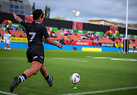 Kimiora Nati kicks for goal during the Women's Rugby League World Cup warmup match between the Kiwi Ferns and Wahine Toa at the FMG Stadium in Hamilton, New Zealand on Saturday, 4 November 2017. Photo: Dave Lintott / lintottphoto.co.nz