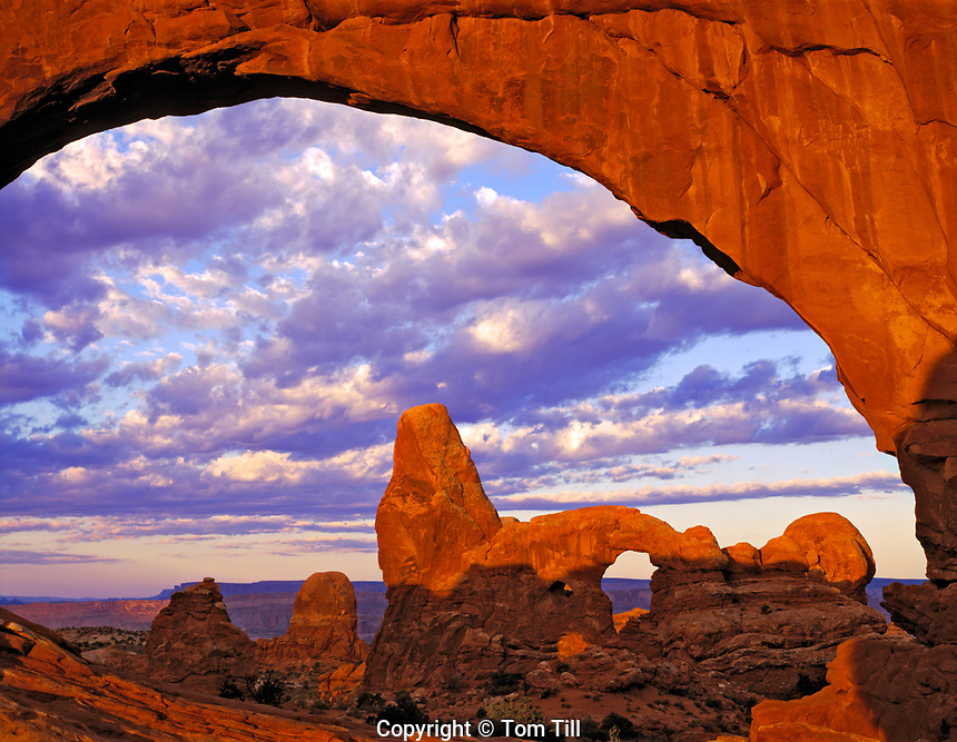 Turret Arch seen through North Window, Windows Section, Arches National Park, Utah