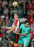 Athletic de Bilbao's Aymeric Laporte (l) and FC Barcelona's Sergio Busquets during La Liga match. October 28,2017. (ALTERPHOTOS/Acero) /NortePhoto.com