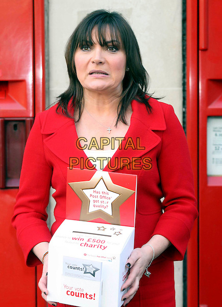 LORRAINE KELLY.launches The People's Post Office Awards at Trafalgar Square Post Office, London, England, .January 26th 2009..half length red suit jacket funny .CAP/DS.©Dudley Smith/Capital Pictures