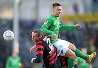 FUSSBALL   1. BUNDESLIGA   SAISON 2011/2012    20. SPIELTAG  05.02.2012 SC Freiburg - SV Werder Bremen Pavel Krmas (li, SC Freiburg) gegen Tom Trybull (SV Werder Bremen)