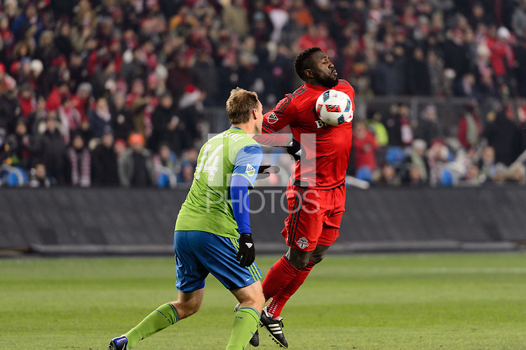 Toronto, ON, Canada - Saturday Dec. 10, 2016: Chad Marshall, Jozy Altidore during the MLS Cup finals at BMO Field. The Seattle Sounders FC defeated Toronto FC on penalty kicks after playing a scoreless game.