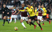 West Ham United's Joao Mario and Watford's Jose Holebas<br /> <br /> Photographer Rob Newell/CameraSport<br /> <br /> The Premier League - West Ham United v Watford - Saturday 10th February 2018 - London Stadium - London<br /> <br /> World Copyright &copy; 2018 CameraSport. All rights reserved. 43 Linden Ave. Countesthorpe. Leicester. England. LE8 5PG - Tel: +44 (0) 116 277 4147 - admin@camerasport.com - www.camerasport.com