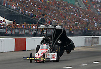 Sep 28, 2013; Madison, IL, USA; NHRA top fuel dragster driver Doug Kalitta during qualifying for the Midwest Nationals at Gateway Motorsports Park. Mandatory Credit: Mark J. Rebilas-