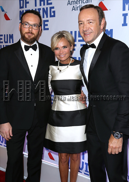 Dana Brunetti, Kristin Chenoweth and Kevin Spacey attend The Museum of Moving Image Award honoring Kevin Spacey at 583 Park on April 9, 2014 in New York City.