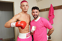 Anton Haskins (L) and father Lee Haskins pose for a photograph in the dressing room during a Boxing Show at Whitchurch Leisure Centre on 5th October 2019. Lee Haskins and his son Anton Haskins both appeared on the same card, Anton making his professional debut.