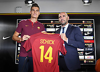 New AS Roma player Patrik Schick with AS Roma Sport Director Monchi <br /> Campionato Italiano Calcio Serie A 2017/2018<br /> Roma 30-08-2017  <br /> Press Conference - Conferenza Stampa <br /> Foto Gino Mancini/Insidefoto