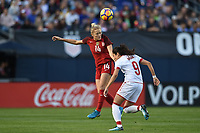 San Diego, CA - Sunday January 21, 2018: Abby Dahlkemper, Nadia Nadim prior to an international friendly between the women's national teams of the United States (USA) and Denmark (DEN) at SDCCU Stadium.