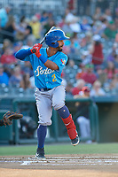 Amarillo Sod Poodles Ivan Castillo (2) bats during a Texas League game against the Frisco RoughRiders on July 12, 2019 at Dr Pepper Ballpark in Frisco, Texas.  (Mike Augustin/Four Seam Images)