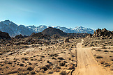 USA, California, Mammoth, a view of the unique rock formations along all sides of Movie Road in Lone Pine