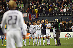 22 November 2009: Los Angeles's Landon Donovan (10) applauds after David Beckham (ENG) (23) made his penalty kick attempt. Real Salt Lake defeated the Los Angeles Galaxy 5-4 on penalty kicks after the teams played to a 1-1 overtime tie at Qwest Field in Seattle, Washington in MLS Cup 2009, Major League Soccer's championship game.
