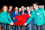 L-R Fiona Reidy, Killarney, Irish Rugby team member, Euan Gee, Munster Developement officer, Tony Duggan, Centre Manager, Michael Keane, Senior Vice President of Munster Rugby, Denis Carroll, chairman of the board, Listowel Community centre and Ciara Griffin, Ballymac, Irish Rugby team member with the signed Munster jersey presented to the Listowel Community Centre&Fitness Gym at the reopening last Friday evening.