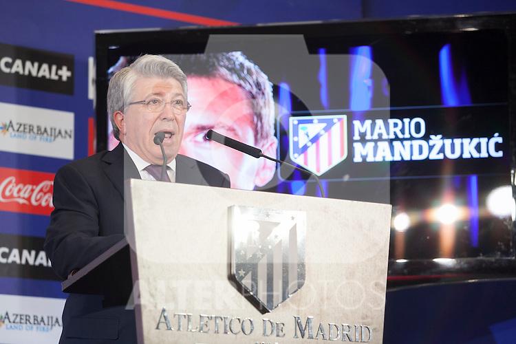 Atletico´s President Enrique Cerezo during Croatian Mario Mandzukic´s official presentation as a new Atletico de Madrid´s football player at Vicente Calderon stadium in Madrid, Spain. July 24, 2014. (ALTERPHOTOS/Victor Blanco)