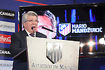Atletico´s President Enrique Cerezo during Croatian Mario Mandzukic´s official presentation as a new Atletico de Madrid´s football player at Vicente Calderon stadium in Madrid, Spain. July 24, 2014. (ALTERPHOTOS/Victor Blanco)