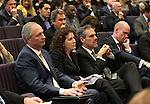 Nevada Gov. Brian Sandoval's administration officials, from left, Steve Hill, Michon Martin and Dale Erquiaga listen as Sandovla presents his plan to overhaul state business license fees during a hearing at the Legislative Building in Carson City, Nev., on Wednesday, March 18, 2015. <br />
