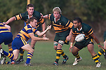 Pukekohe forwards Thomas Short, Willy Crisp & Sione Anga'aelangi watch as Kane Hancy passes from a ruck. CMRFU Counties Power Premier Club Rugby game between Patumahoe & Pukekohe played at Patumahoe on April 12th, 2008..The halftime score was 10 all with Pukekohe going on to win 23 - 18.