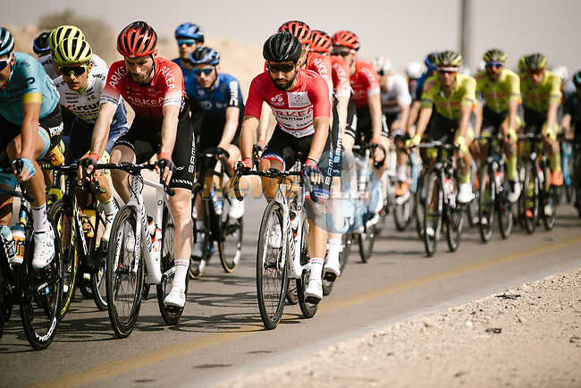The peloton including Nacer Bouhanni (FRA) Team Arkea-Samsic during Stage 4 of the Saudi Tour 2020 running 137km from Wadi Namar Park to Al Muzahimiyah King Saud University, Saudi Arabia. 7th February 2020. <br /> Picture: ASO/Pauline Ballet | Cyclefile<br /> All photos usage must carry mandatory copyright credit (© Cyclefile | ASO/Pauline Ballet)