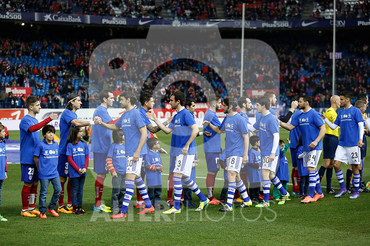 Atletico de Madrid´s players and Real Sociedad´s players before 2015-16 La Liga match between Atletico de Madrid and Real Sociedad at Vicente Calderon stadium in Madrid, Spain. March 01, 2016. (ALTERPHOTOS/Victor Blanco)