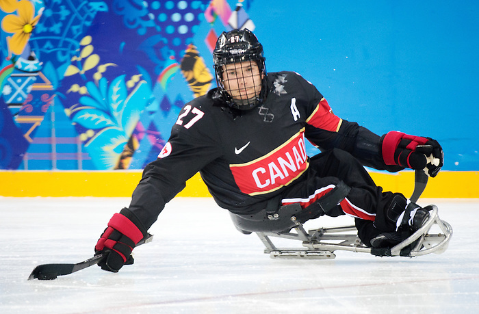 Sochi, RUSSIA - Mar 9 2014 -  Brad Bowden during Canada vs. Norway at the 2014 Paralympic Winter Games in Sochi, Russia.  (Photo: Matthew Murnaghan/Canadian Paralympic Committee)