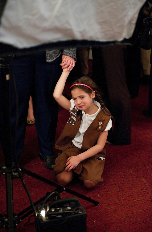 UNITED STATES - FEBRUARY 01:  A Brownie cries during a celebration of the Girl Scouts' 100th birthday in Cannon Caucus Room.  The event featured addresses by House Minority Leader Nancy Pelosi, D-Calif., HHS Secretary Kathleen Sebelius and other Congressional leaders.  (Photo By Tom Williams/CQ Roll Call)