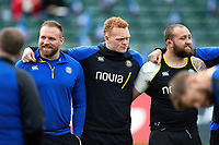 Henry Thomas, Miles Reid and Tom Dunn of Bath Rugby look on in a huddle prior to the match. Gallagher Premiership match, between Bath Rugby and Harlequins on March 2, 2019 at the Recreation Ground in Bath, England. Photo by: Patrick Khachfe / Onside Images