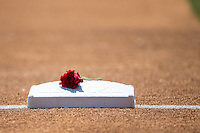 A rose sits on third base as part of a Memorial Day ceremony to honor those who gave their lives as members of the various branches of the military, prior to the Eastern League game between the Bowie Baysox and the Richmond Flying Squirrels at The Diamond on May 25, 2015 in Richmond, Virginia.  A rose was placed on all three bases, home plate and the pitching rubber by members of the Richmond Flying Squirrels.   (Brian Westerholt/Four Seam Images)