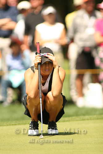 Apr. 2, 2006; Rancho Mirage, CA, USA; Natalie Gulbis reads her next putt during the final round of the Kraft Nabisco Championship at Mission Hills Country Club. ..Mandatory Photo Credit: Darrell Miho.Copyright © 2006 Darrell Miho .