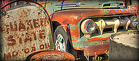 Old Ford in Jerome, Arizona with Quaker State sign