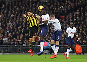30th January 2019, Wembley Stadium, London England; EPL Premier League football, Tottenham Hotspur versus Watford;  Davinson Sanchez and Toby Alderweireld of Tottenham Hotspur challenge Troy Deeney of Watford