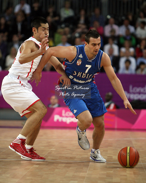 Ivan Paunic (Serbia) in action. Serbia v China. The London International Basketball Invitational. London Prepares for Olympics 2012. Basketball Arena, Olympic Park. London. 17/08/2011. MANDATORY Credit Sportinpictures/Paul Chesterton - NO UNAUTHORISED USE - 07837 394578.