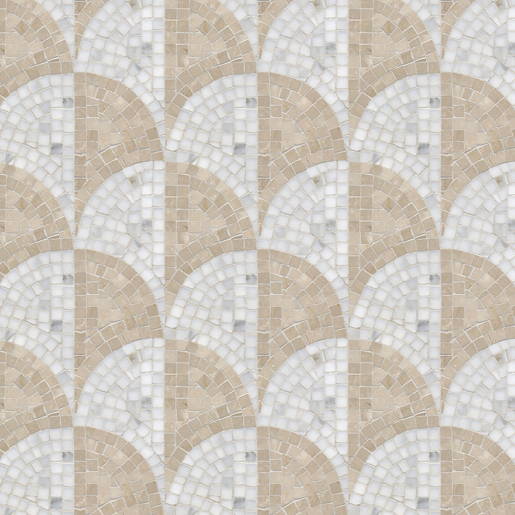 Half Shell, a hand-cut stone mosaic, shown in polished Calacatta and Botticino.