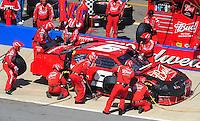 Apr 26, 2009; Talladega, AL, USA; NASCAR Sprint Cup Series driver Kasey Kahne pits after crashing during the Aarons 499 at Talladega Superspeedway. Mandatory Credit: Mark J. Rebilas-