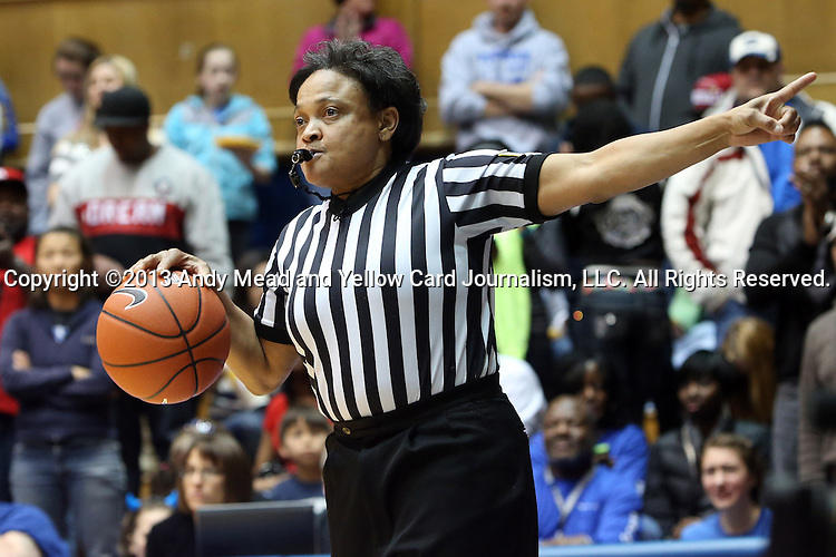 03 March 2013: Referee Bonita Spence. The Duke University Blue Devils played the University of North Carolina Tar Heels at Cameron Indoor Stadium in Durham, North Carolina in a 2012-2013 NCAA Division I and Atlantic Coast Conference women's college basketball game. Duke won the game 65-58.