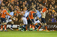 Blackpool players celebrate the own goal awarded to Goalkeeper Stuart Moore of Luton Town during the Sky Bet League 2 Play Off Semi Final 2 leg match between Luton Town and Blackpool at Kenilworth Road, Luton, England on 18 May 2017. Photo by David Horn.