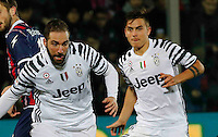 Gonzalo Higuain  and Paulo Dyabala  during the  italian serie a soccer match,between Crotone and Juventus      at  the Scida   stadium in Crotone  Italy , February 08, 2017
