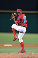 Clearwater Threshers pitcher Edubray Ramos (16) delivers a pitch during a game against the Tampa Yankees on April 21, 2015 at Bright House Field in Clearwater, Florida.  Clearwater defeated Tampa 3-0.  (Mike Janes/Four Seam Images)