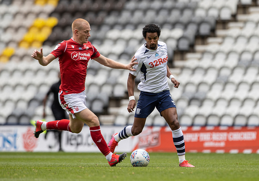 Preston North End's Scott Sinclair (right) competing with Nottingham Forest's Ben Watson <br /> <br /> Photographer Andrew Kearns/CameraSport<br /> <br /> The EFL Sky Bet Championship - Preston North End v Nottingham Forest - Saturday 11th July 2020 - Deepdale Stadium - Preston <br /> <br /> World Copyright © 2020 CameraSport. All rights reserved. 43 Linden Ave. Countesthorpe. Leicester. England. LE8 5PG - Tel: +44 (0) 116 277 4147 - admin@camerasport.com - www.camerasport.com
