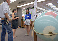 """Wun Hei Jazlynn Poon presents """"RE:CODE LA x Water - Creating A Water Resilience City."""" After researching all summer, Occidental College students present their work at the annual Summer Undergraduate Research Conference on July 29, 2015.<br /> (Photo by Marc Campos, Occidental College Photographer)"""