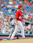 24 September 2011: Washington Nationals pitcher Chien-Ming Wang walks up the mound after serving up a solo home run to Freddie Freeman of the Atlanta Braves at Nationals Park in Washington, DC. The Nationals defeated the Braves 4-1 to even up their 3-game series. Mandatory Credit: Ed Wolfstein Photo