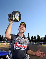Aug. 3, 2014; Kent, WA, USA; NHRA pro stock driver Jason Line celebrates after winning the Northwest Nationals at Pacific Raceways. Mandatory Credit: Mark J. Rebilas-