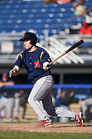 State College Spikes outfielder Nick Thompson (44) at bat during a game against the Batavia Muckdogs on June 22, 2014 at Dwyer Stadium in Batavia, New York.  State College defeated Batavia 10-3.  (Mike Janes/Four Seam Images)