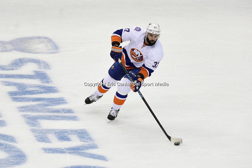 April 23, 2015 - Washington D.C., U.S. - New York Islanders defenseman Brian Strait (37) in game action during game 5 of the  NHL Eastern Conference Quarter finals between the New York Islanders and the Washington Capitals held at the Verizon Center in Washington DC.  The Capitals defeat the Islanders 5-1 in regulation time to take the lead in the 7 game series 3-2. Eric Canha/CSM